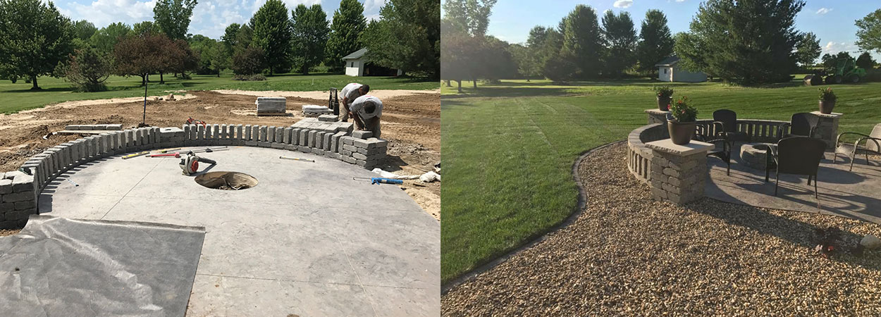 hardscape country club lawn landscape marion ia